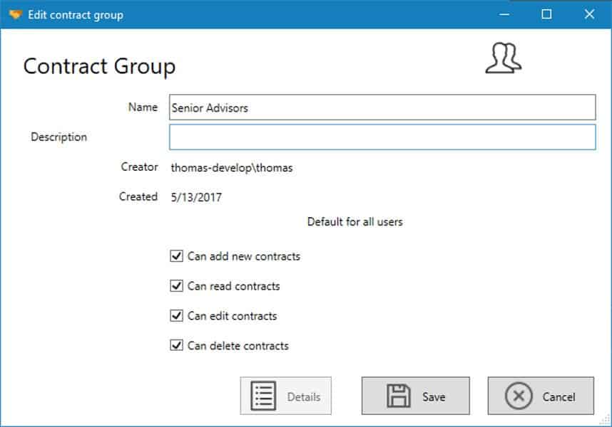 Edit contract groups
